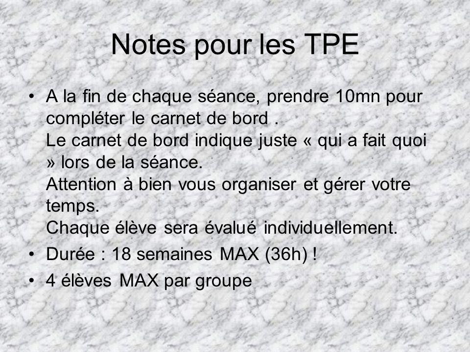 Notes pour les TPE