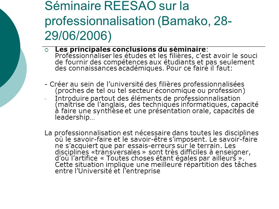 Séminaire REESAO sur la professionnalisation (Bamako, 28-29/06/2006)
