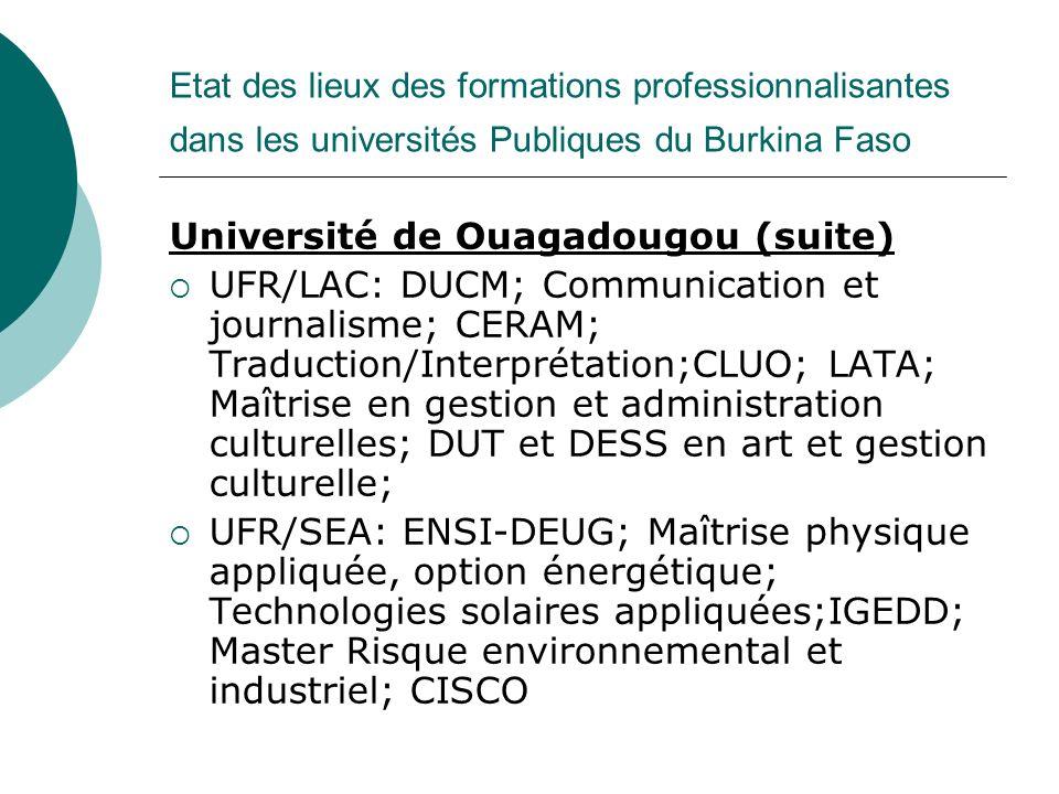 Université de Ouagadougou (suite)