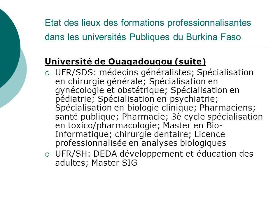Etat des lieux des formations professionnalisantes dans les universités Publiques du Burkina Faso