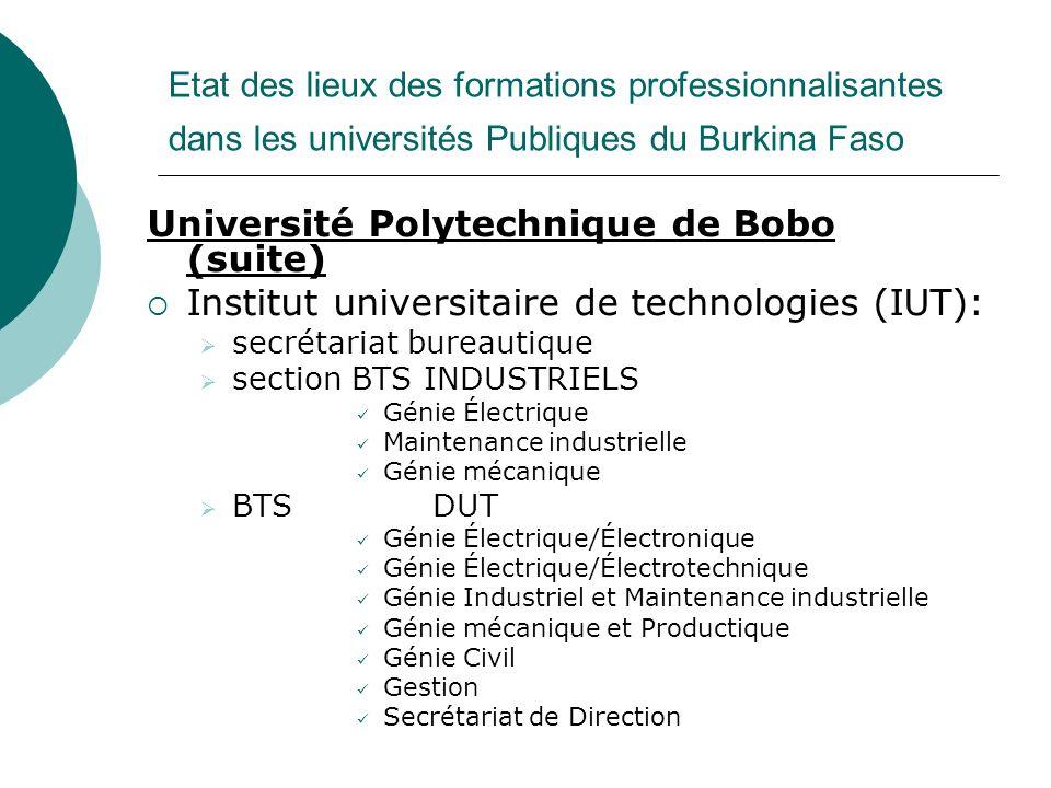 Université Polytechnique de Bobo (suite)