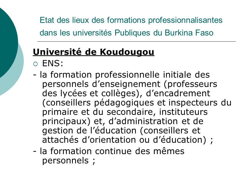 Université de Koudougou ENS: