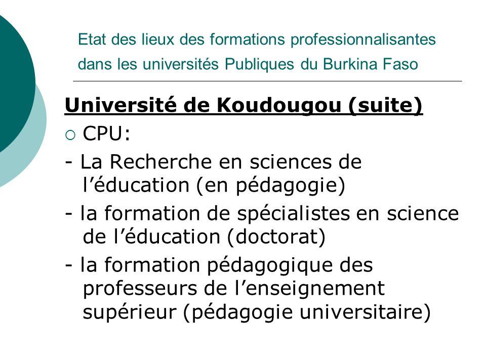 Université de Koudougou (suite) CPU: