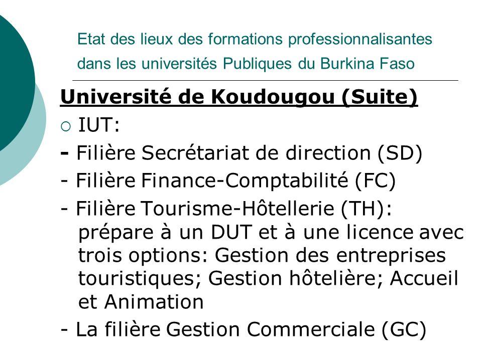 Université de Koudougou (Suite) IUT: