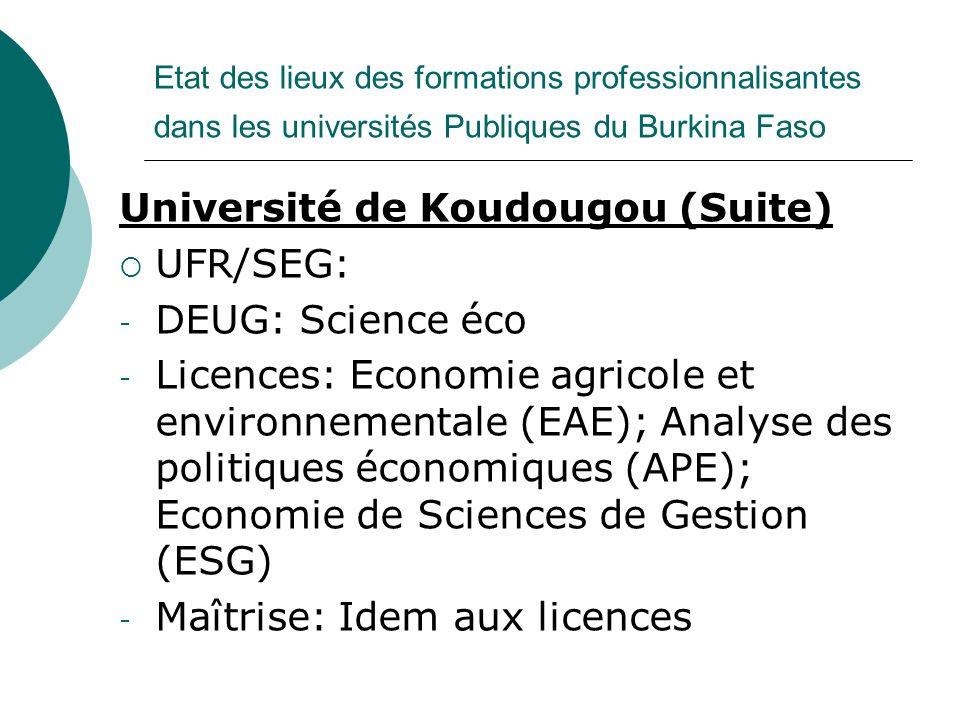 Université de Koudougou (Suite) UFR/SEG: DEUG: Science éco