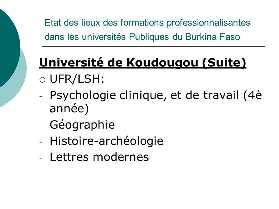 Université de Koudougou (Suite) UFR/LSH: