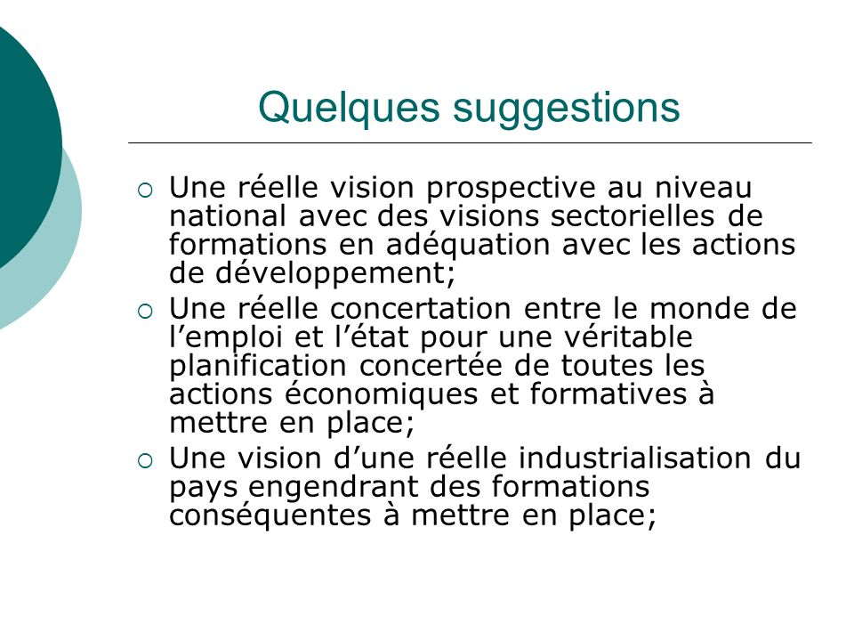 Quelques suggestions