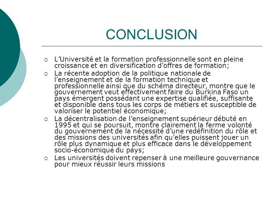 CONCLUSION L'Université et la formation professionnelle sont en pleine croissance et en diversification d'offres de formation;