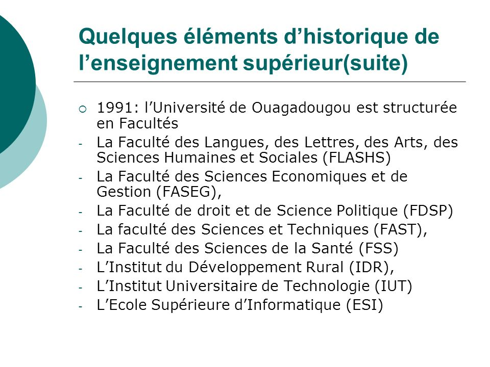 Quelques éléments d'historique de l'enseignement supérieur(suite)