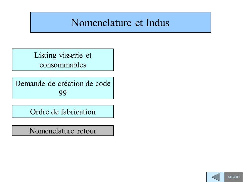 Nomenclature et Indus Listing visserie et consommables
