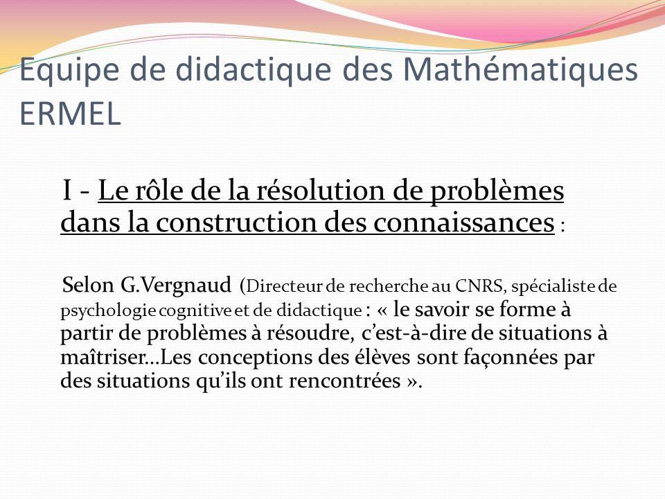 Equipe de didactique des Mathématiques ERMEL
