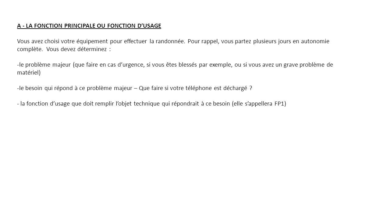 A - LA FONCTION PRINCIPALE OU FONCTION D'USAGE