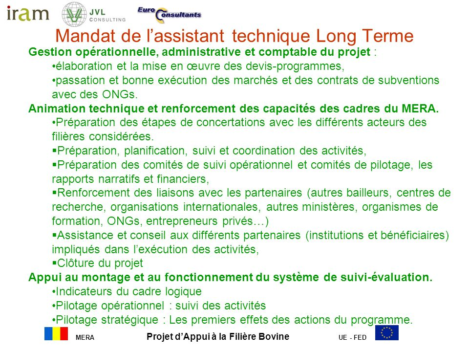 Mandat de l'assistant technique Long Terme
