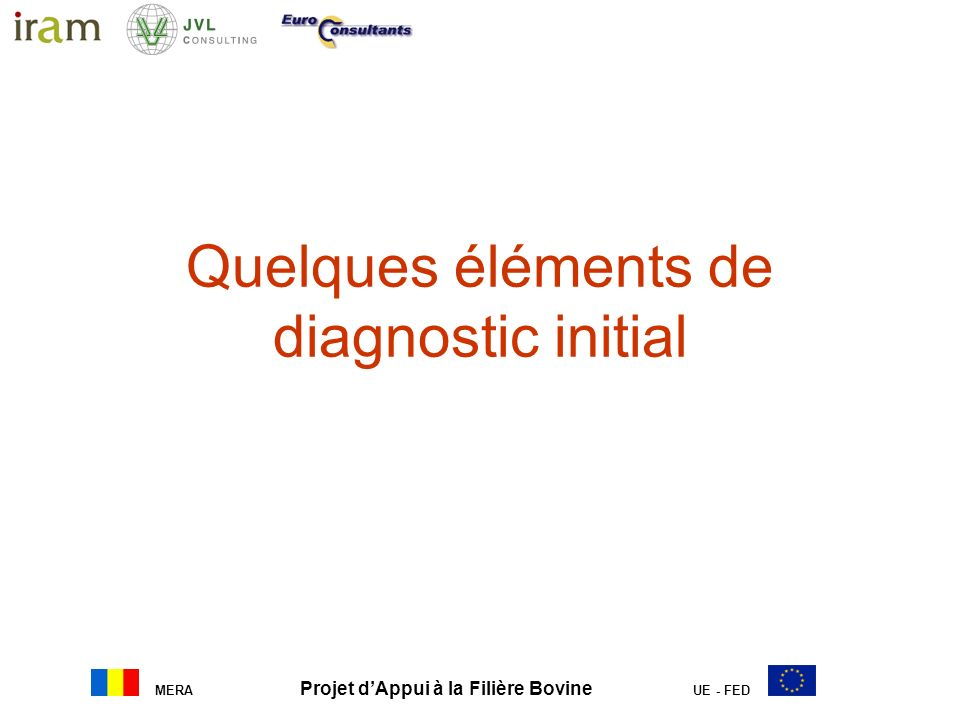 Quelques éléments de diagnostic initial