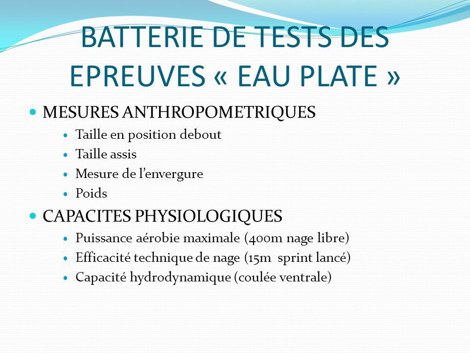 BATTERIE DE TESTS DES EPREUVES « EAU PLATE »