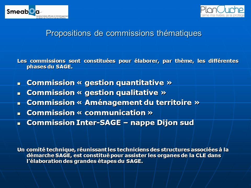 Propositions de commissions thématiques