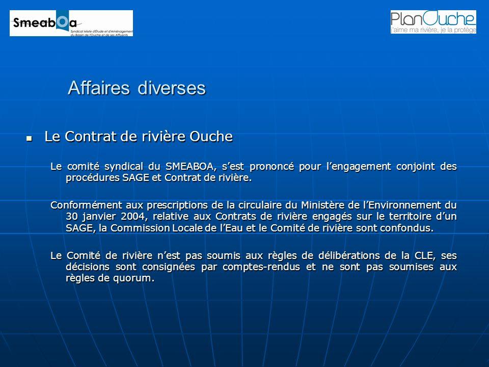 Affaires diverses Le Contrat de rivière Ouche