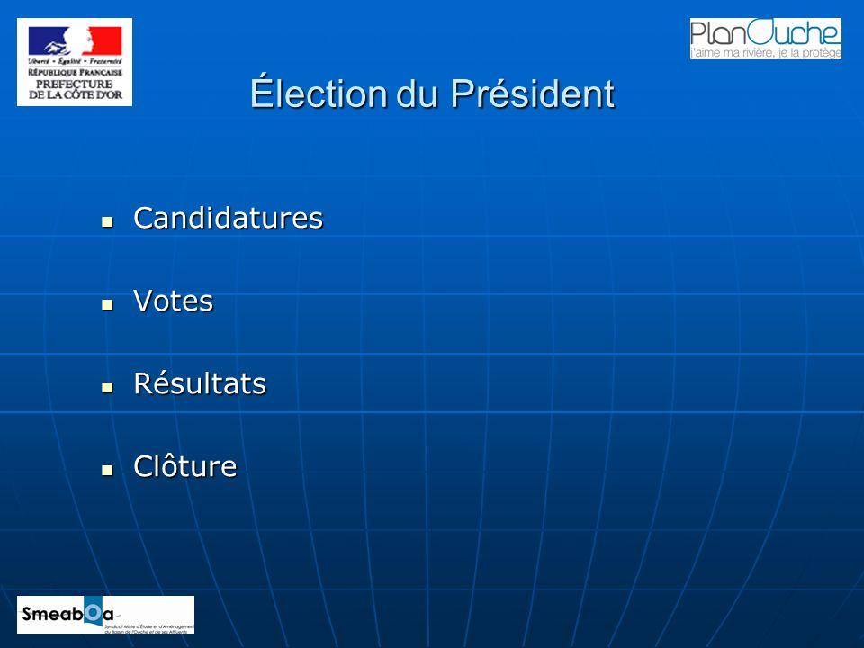 Élection du Président Candidatures Votes Résultats Clôture