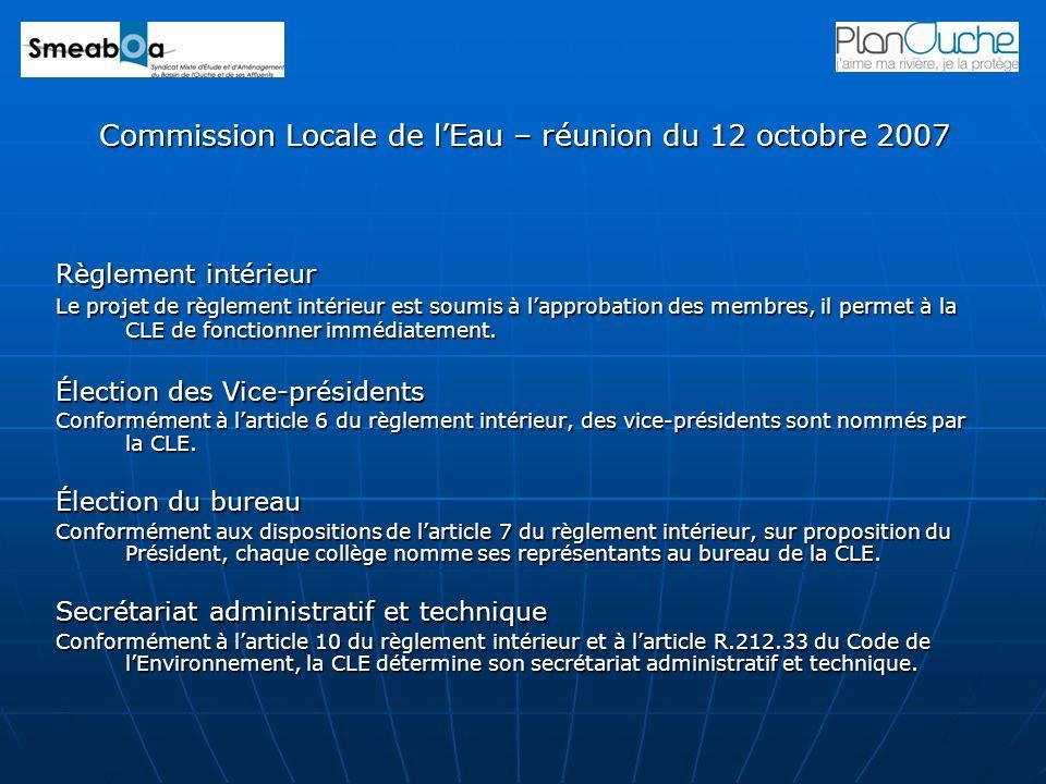 Commission Locale de l'Eau – réunion du 12 octobre 2007