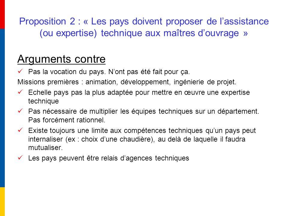 Proposition 2 : « Les pays doivent proposer de l'assistance (ou expertise) technique aux maîtres d'ouvrage »