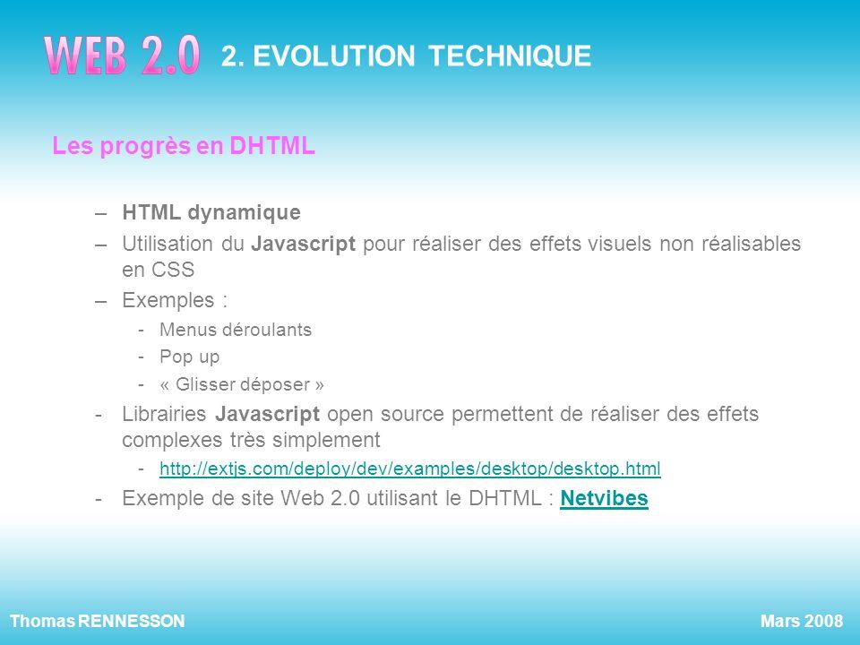 2. EVOLUTION TECHNIQUE Les progrès en DHTML HTML dynamique