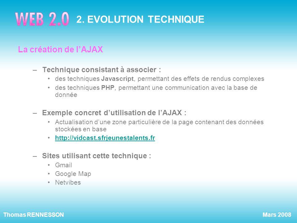 2. EVOLUTION TECHNIQUE La création de l'AJAX
