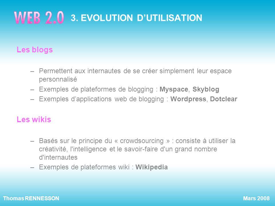 3. EVOLUTION D'UTILISATION