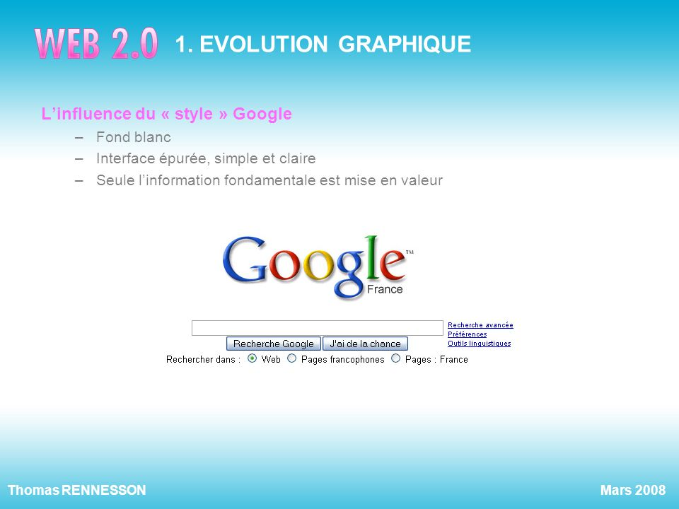 1. EVOLUTION GRAPHIQUE L'influence du « style » Google Fond blanc