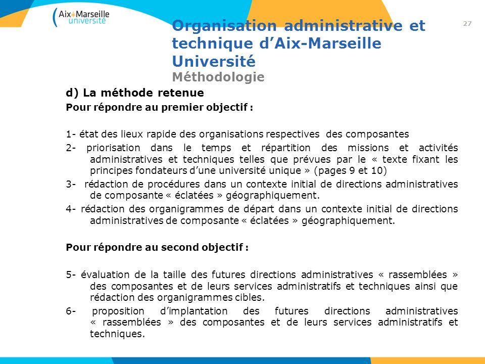 Organisation administrative et technique d'Aix-Marseille Université Méthodologie