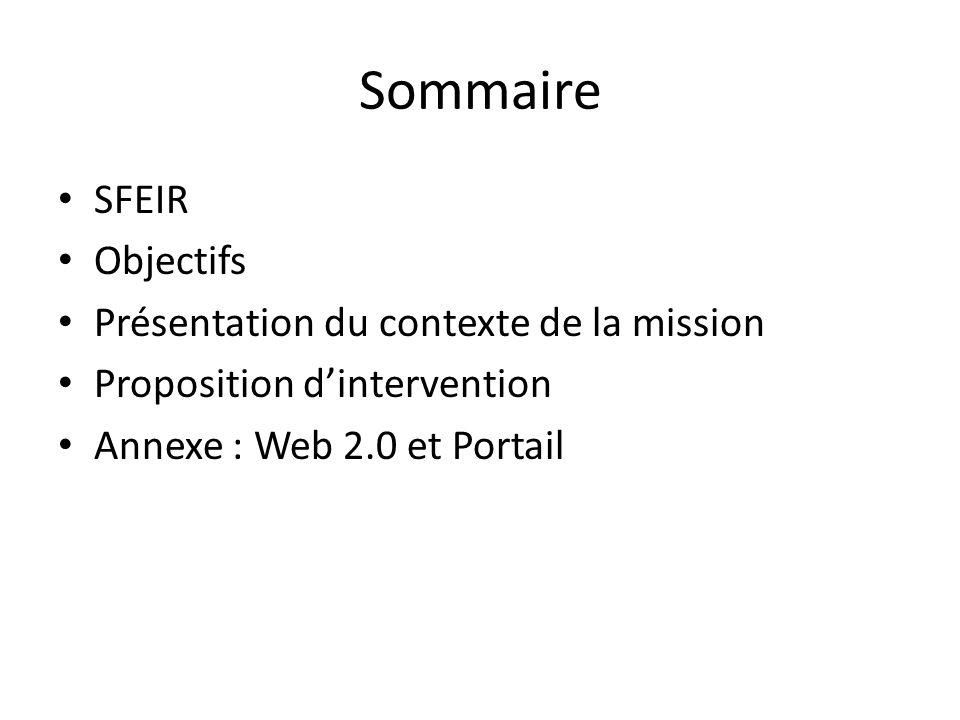 Sommaire SFEIR Objectifs Présentation du contexte de la mission
