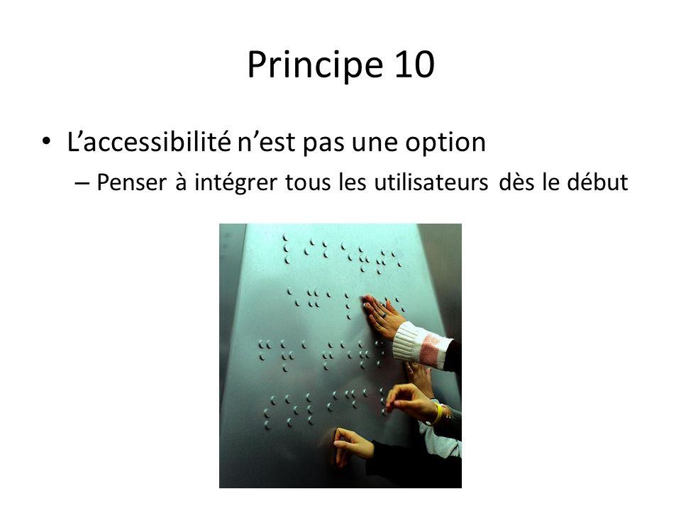 Principe 10 L'accessibilité n'est pas une option