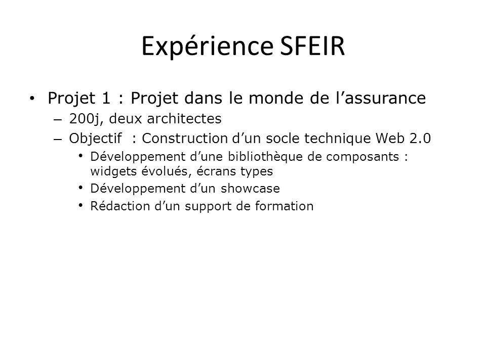 Expérience SFEIR Projet 1 : Projet dans le monde de l'assurance