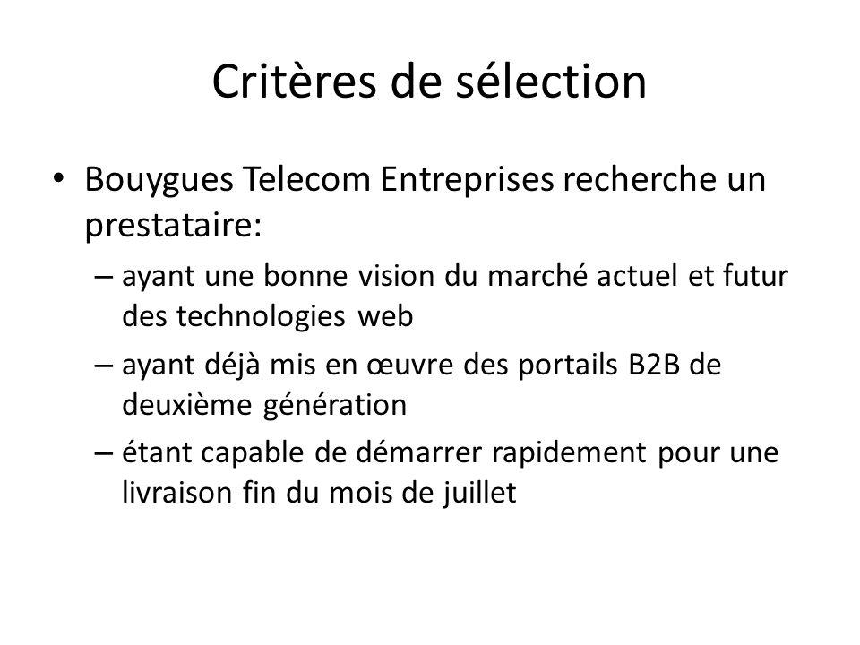 Critères de sélection Bouygues Telecom Entreprises recherche un prestataire: ayant une bonne vision du marché actuel et futur des technologies web.