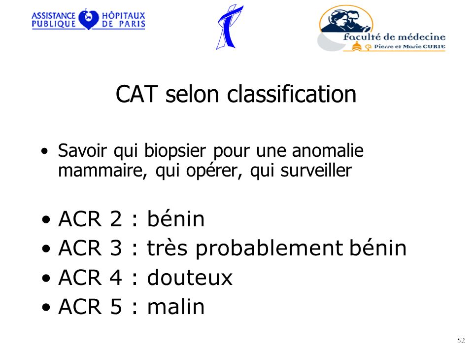CAT selon classification