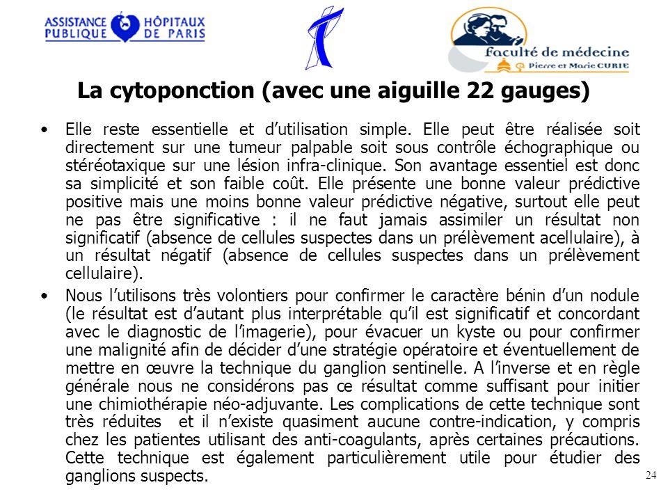 La cytoponction (avec une aiguille 22 gauges)
