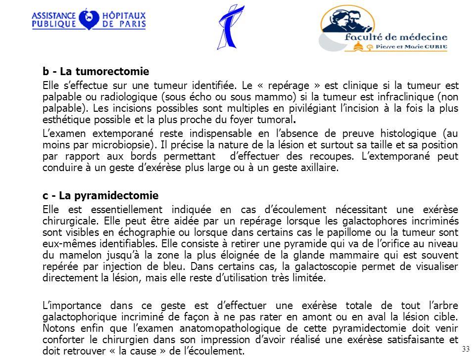 b - La tumorectomie