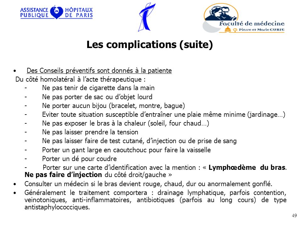 Les complications (suite)