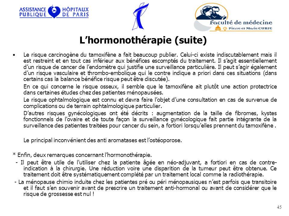 L'hormonothérapie (suite)