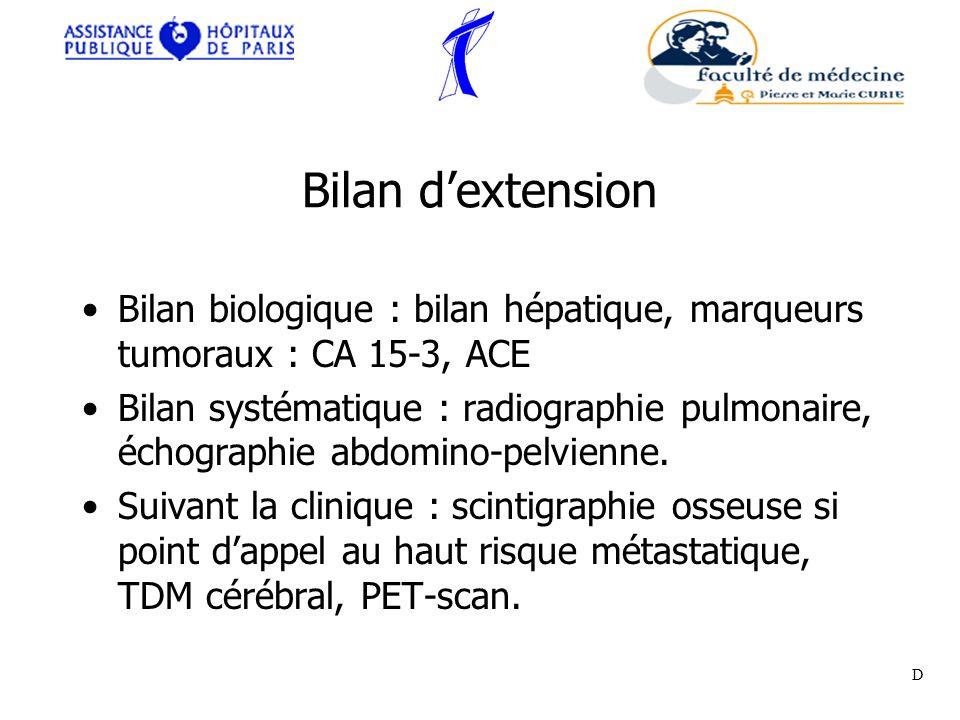Bilan d'extension Bilan biologique : bilan hépatique, marqueurs tumoraux : CA 15-3, ACE.