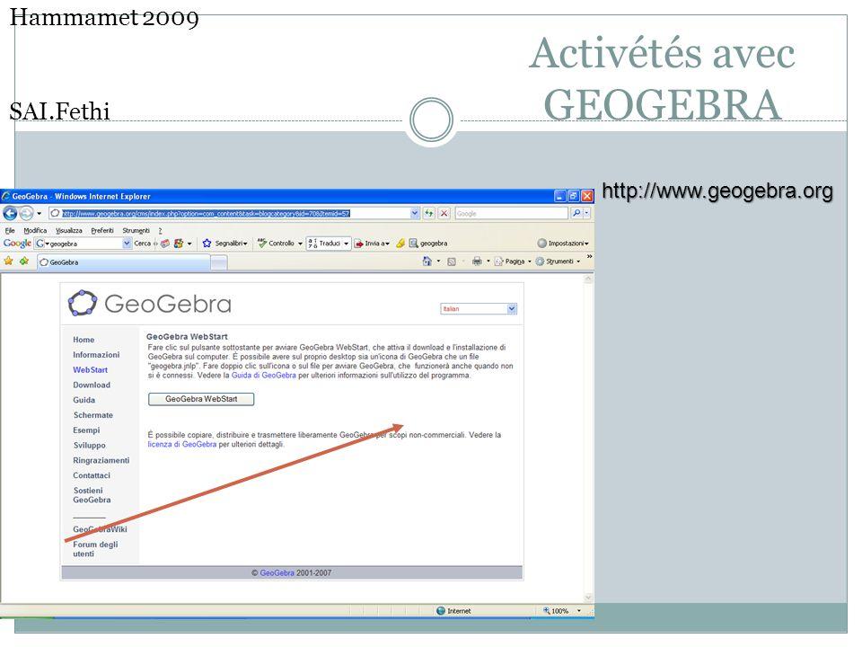 Activétés avec GEOGEBRA
