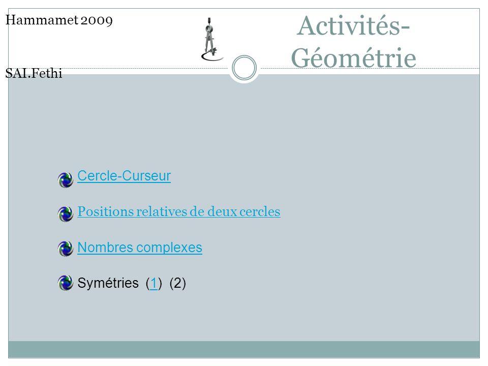 Activités-Géométrie Hammamet 2009 SAI.Fethi Cercle-Curseur
