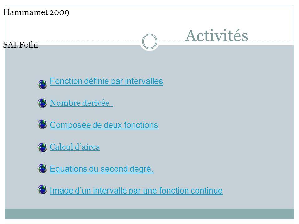 Activités Hammamet 2009 SAI.Fethi Fonction définie par intervalles