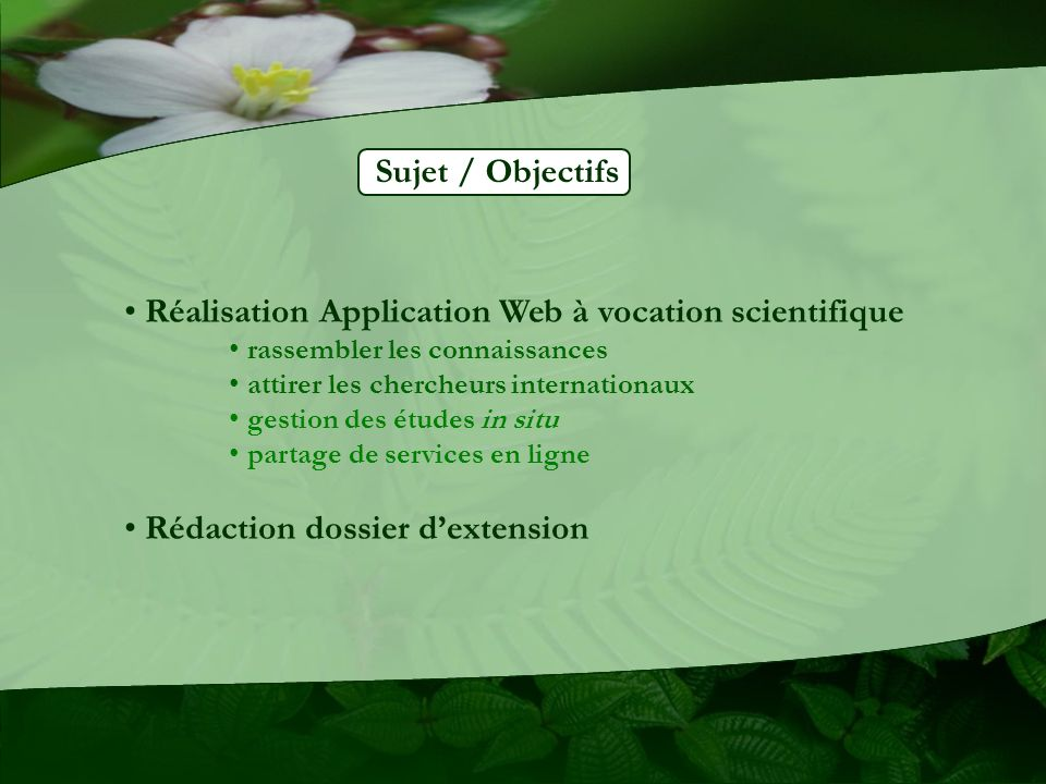 Réalisation Application Web à vocation scientifique
