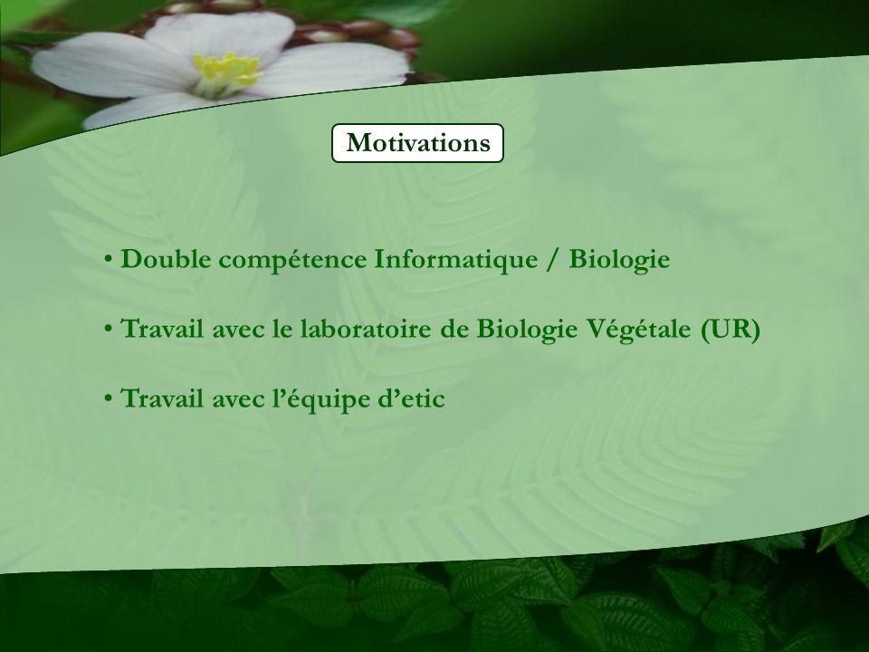 Motivations Double compétence Informatique / Biologie. Travail avec le laboratoire de Biologie Végétale (UR)