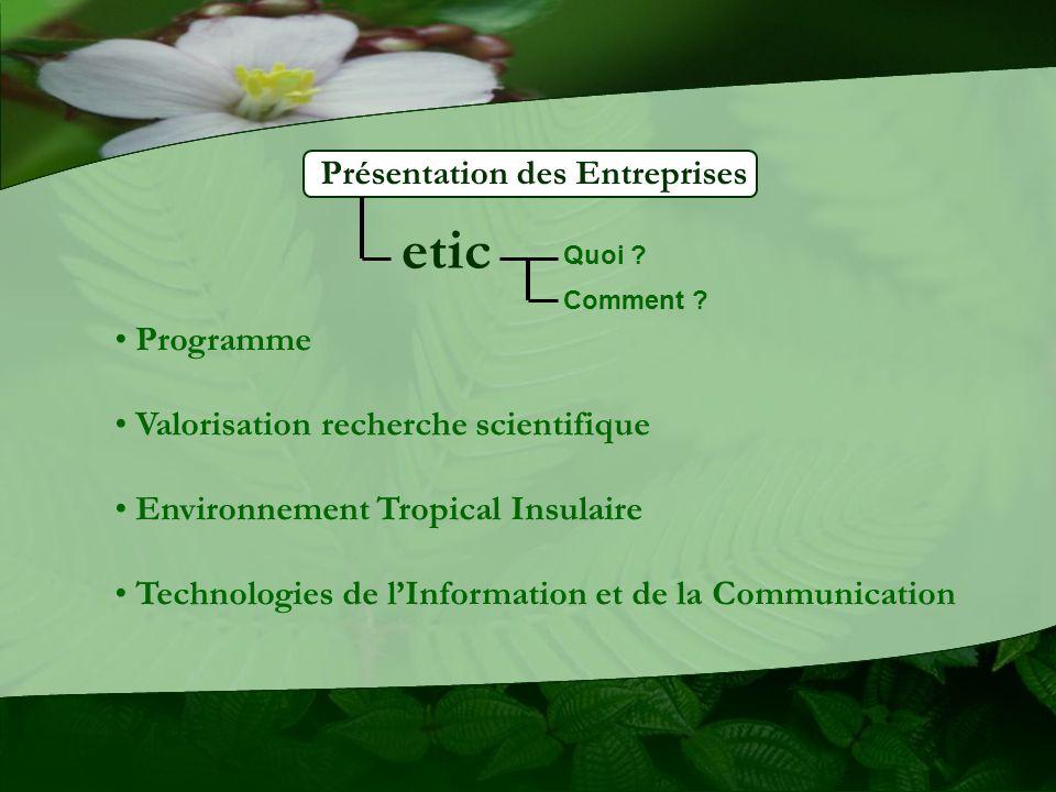 etic Présentation des Entreprises Programme