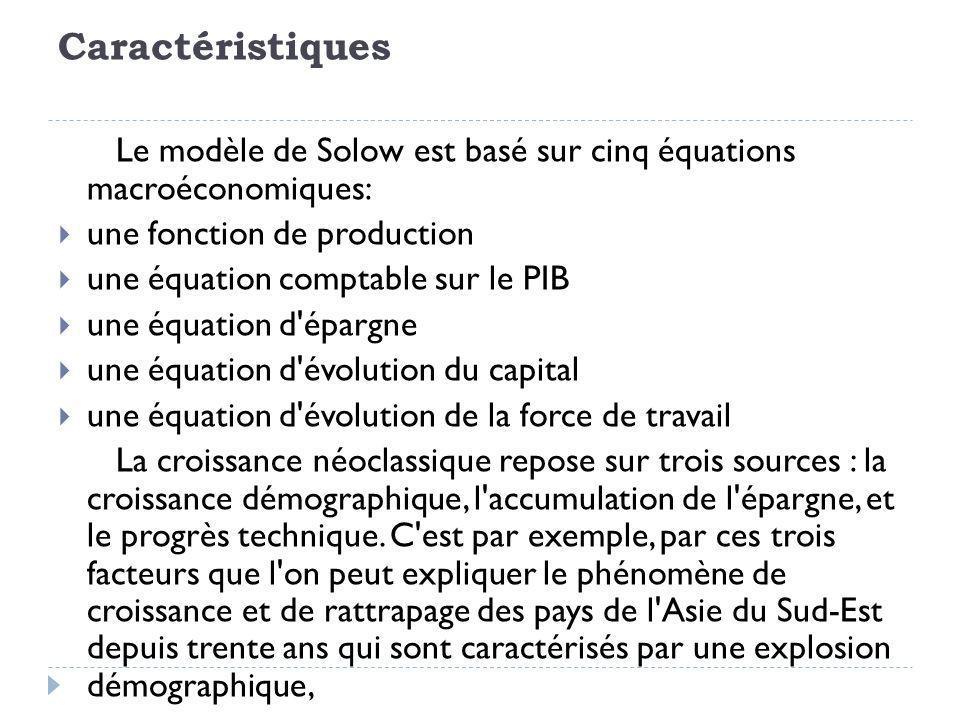 Caractéristiques Le modèle de Solow est basé sur cinq équations macroéconomiques: une fonction de production.