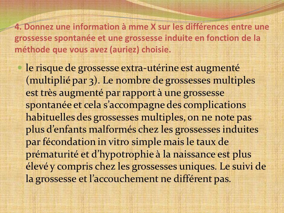 4. Donnez une information à mme X sur les différences entre une grossesse spontanée et une grossesse induite en fonction de la méthode que vous avez (auriez) choisie.