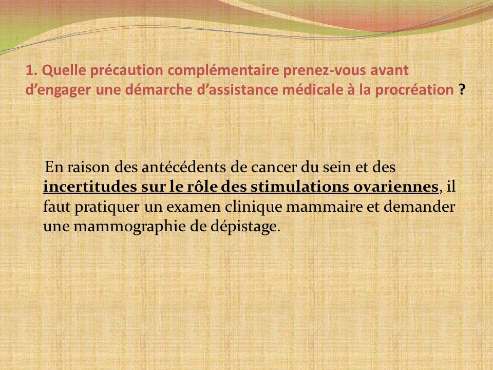 1. Quelle précaution complémentaire prenez-vous avant d'engager une démarche d'assistance médicale à la procréation