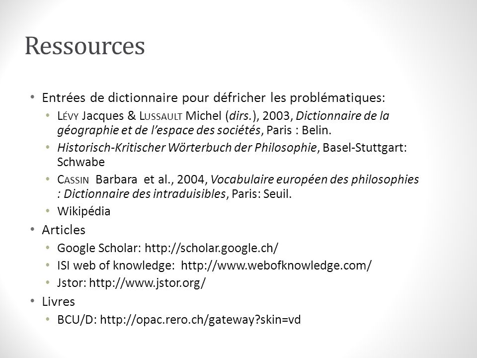 Ressources Entrées de dictionnaire pour défricher les problématiques: