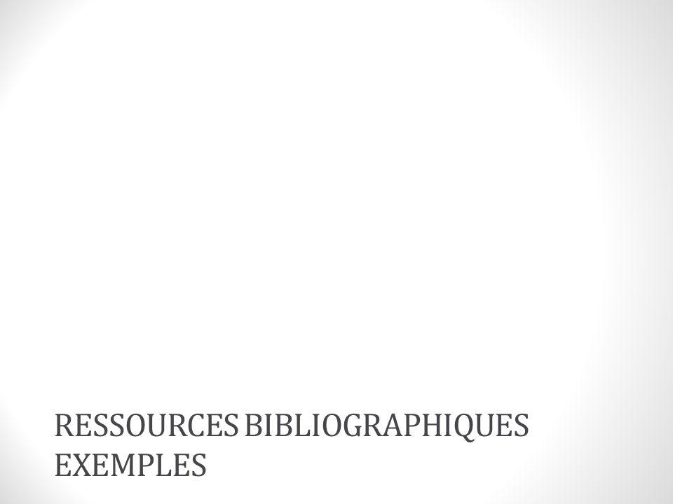 ressources bibliographiques exemples